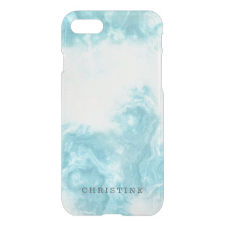 Clear monogram name marble agate blue watercolor iPhone 8/7 case