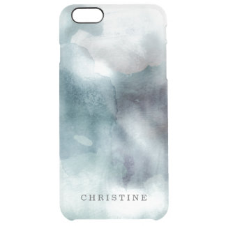 Clear monogram name watercolor hipster blue nautic clear iPhone 6 plus case