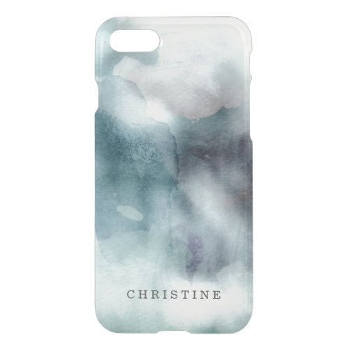 Clear monogram name watercolor hipster blue nautic iPhone 8/7 case