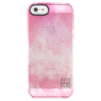 Clear monogram watercolor hipster pastel pink clear iPhone SE/5/5s case
