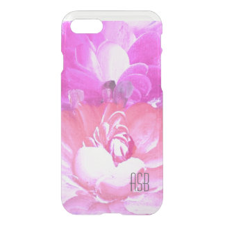 Clear monogram watercolor hipster pink roses rose iPhone 7 case
