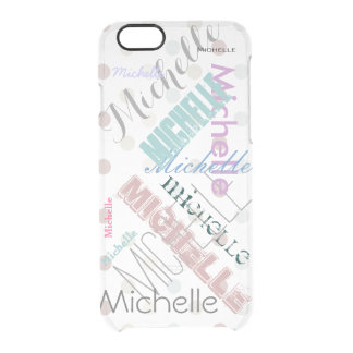 Clear Polka Dot with Name Clear iPhone 6/6S Case