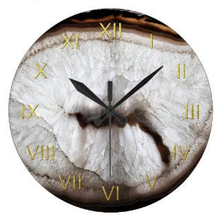 Clear Quartz Geode Depiction Wall Clock