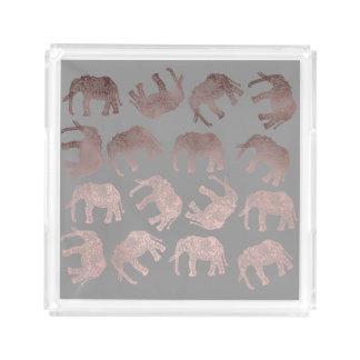 clear rose gold foil tribal elephant pattern