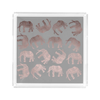 clear rose gold foil tribal elephant pattern acrylic tray