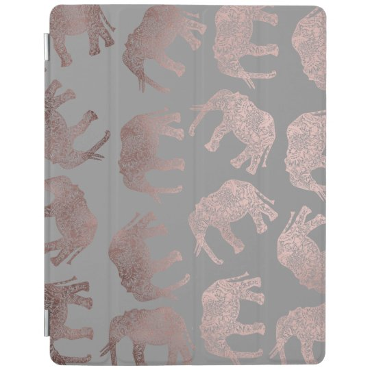 clear rose gold foil tribal elephant pattern iPad