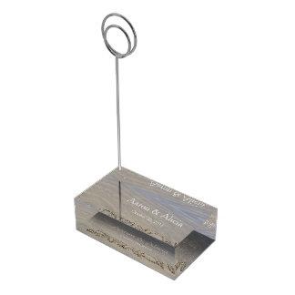 Clear sandy beach table card holder