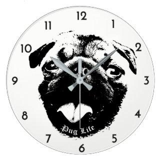 Clear & Simple Pug Life Smile Large Clock