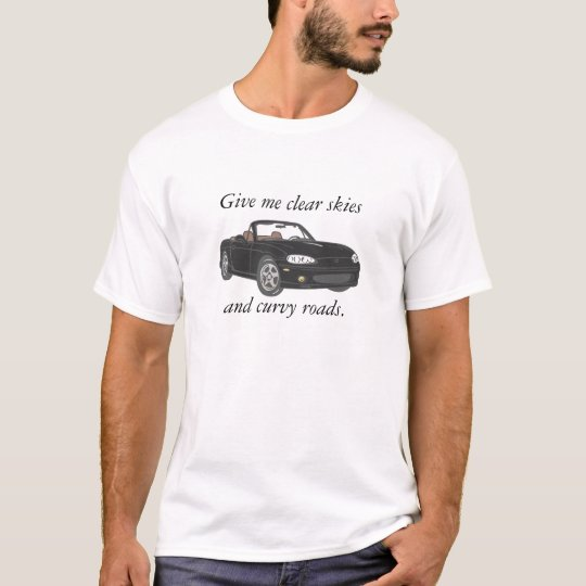 Clear Skies & Curvy Roads-Black Large T-Shirt