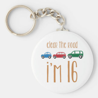Clear The Road I'm 16 Basic Round Button Key Ring