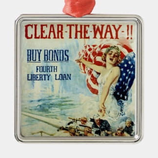 Clear the Way!! - Fourth Liberty Loan Silver-Colored Square Decoration