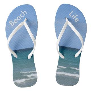 Clear turquoise beach flip-flops flip flops