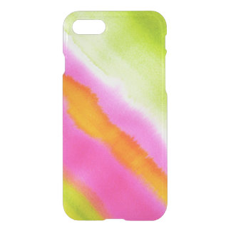 Clear watercolor ikat hipster neon pink green stri iPhone 7 case