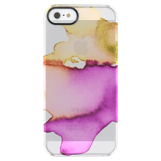 Clear watercolor ikat hipster neon purple yellow clear