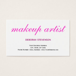 Clear White Pink Makeup Artist Business Card