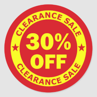Clearance Sale 30 Percent Off Round Sticker