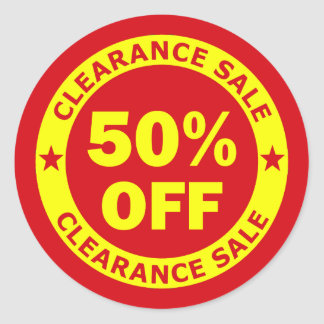 Clearance Sale 50 Percent Off Round Sticker
