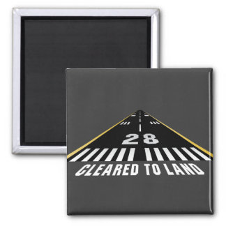 Cleared To Land Runway Square Magnet