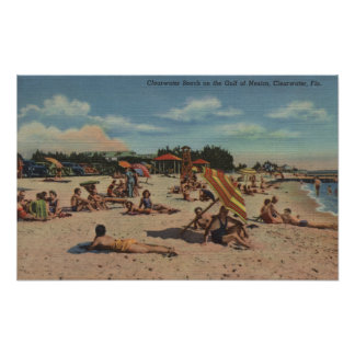 Clearwater, FL - Sunbathers on Clearwater Beach Poster