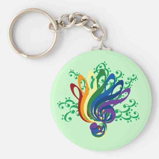 Clef Bouquet Basic Round Button Key Ring