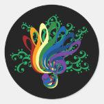 Clef Bouquet on Black Round Stickers