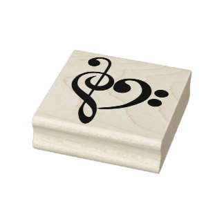 Clef Heart Rubber Stamp