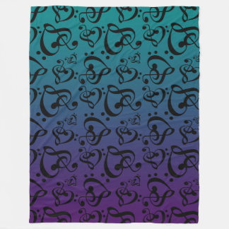 Clef Hearts Music Notes Purple Teal Ombre Pattern Fleece Blanket