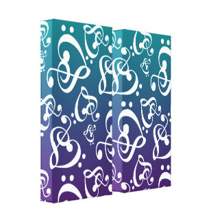 Clef Hearts Music Notes Teal And Purple Ombre Canvas Print