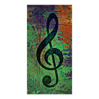 Clef Music Style Photo Greeting Card