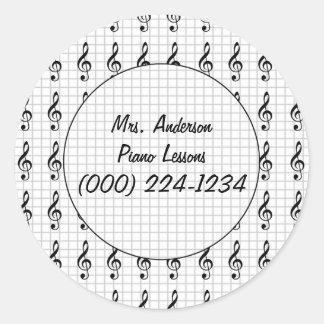 Clef Note on Graph Paper- Piano Teacher Round Sticker