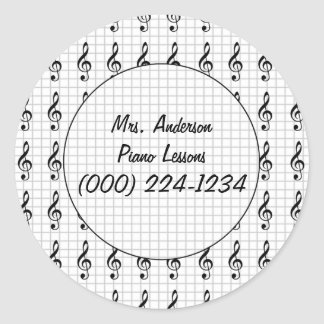 Clef Note on Graph Paper- Piano Teacher Classic Round Sticker