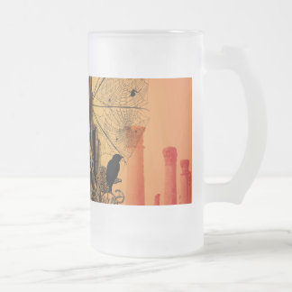 Clef on a decorative button with birds frosted glass beer mug