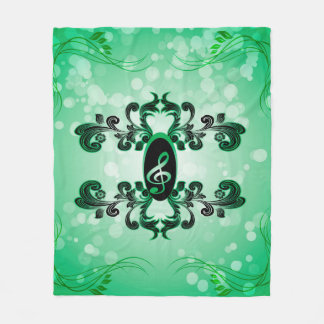 Clef with green background fleece blanket