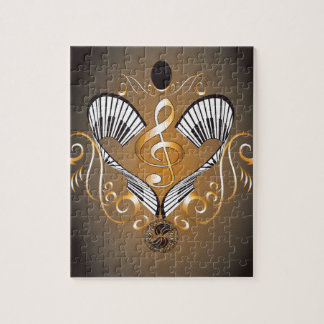 Clef with piano jigsaw puzzle