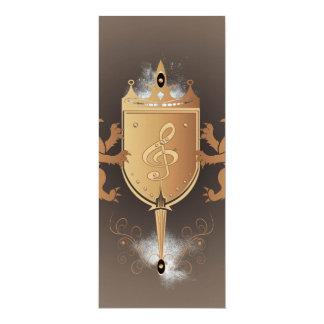 Clef with shield 10 cm x 24 cm invitation card