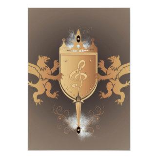 Clef with shield 13 cm x 18 cm invitation card