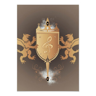 Clef with shield 5x7 paper invitation card