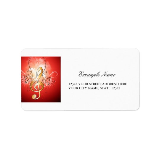Clef with water drops address label