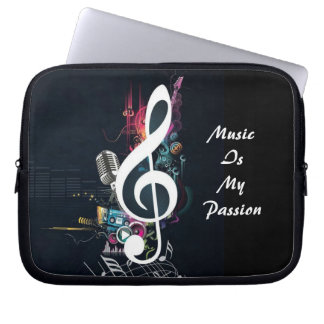 Cleft Note and Microphone Abstract Laptop Sleeve