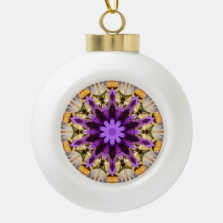 CLEMATIS CERAMIC BALL CHRISTMAS ORNAMENT