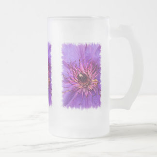 CLEMATIS FROSTED GLASS BEER MUG
