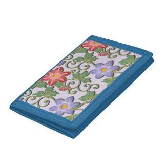Clematis Japanese style arabesque floral pattern Trifold Wallet