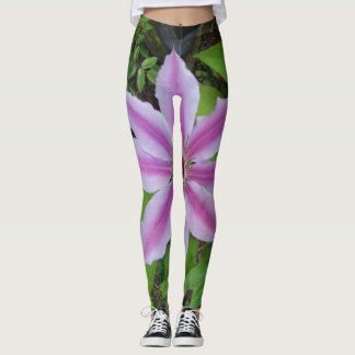 Clematis Pink Green Flowers Funny Floral Leggings