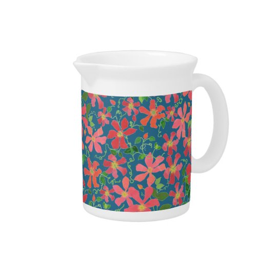Clematis Pink, Red, Orange Floral on Deep Blue Pitcher