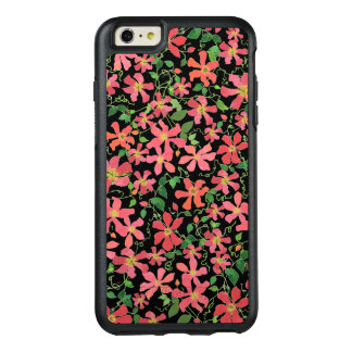 Clematis Pink, Red, Orange Floral Pattern on Black OtterBox iPhone 6/6s Plus Case