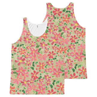 Clematis Pink, Red, Orange Floral Pattern on Taupe All-Over Print Tank Top
