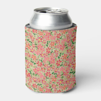 Clematis Pink, Red, Orange Floral Pattern on Taupe Can Cooler