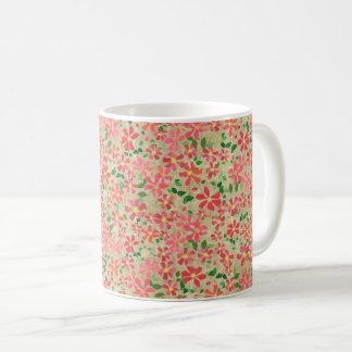 Clematis Pink, Red, Orange Floral Pattern on Taupe Coffee Mug