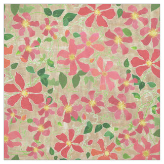 Clematis Pink, Red, Orange Floral Pattern on Taupe Fabric