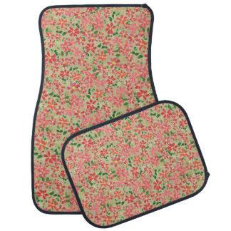Clematis Pink, Red, Orange Floral Pattern on Taupe Floor Mat
